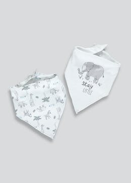 2 Pack Animal Bandana Bibs (One Size)