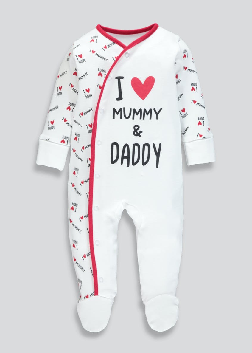 Unisex Mummy & Daddy Slogan Baby Grow (Tiny Baby-12mths)