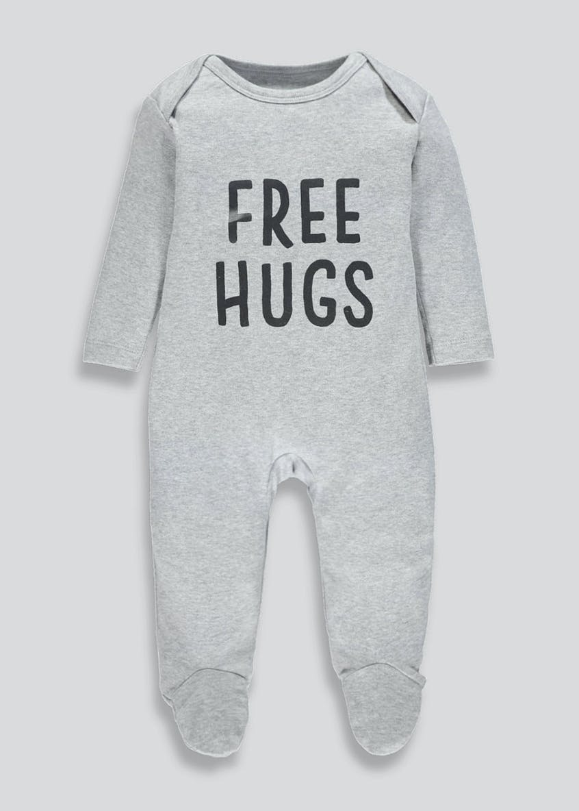 Unisex Hugs Slogan Baby Grow (Tiny Baby-9mths)