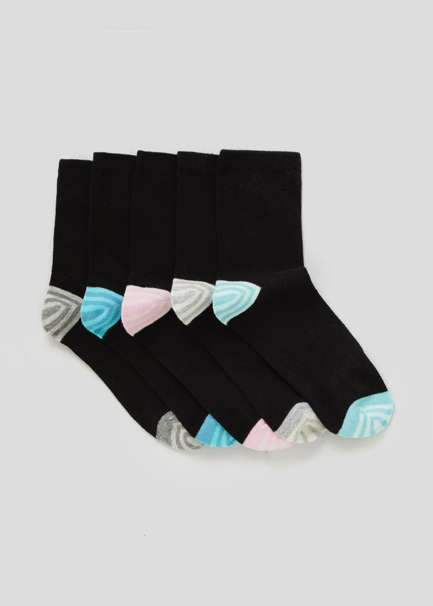 5 Pack Stripe Heel & Toe Socks