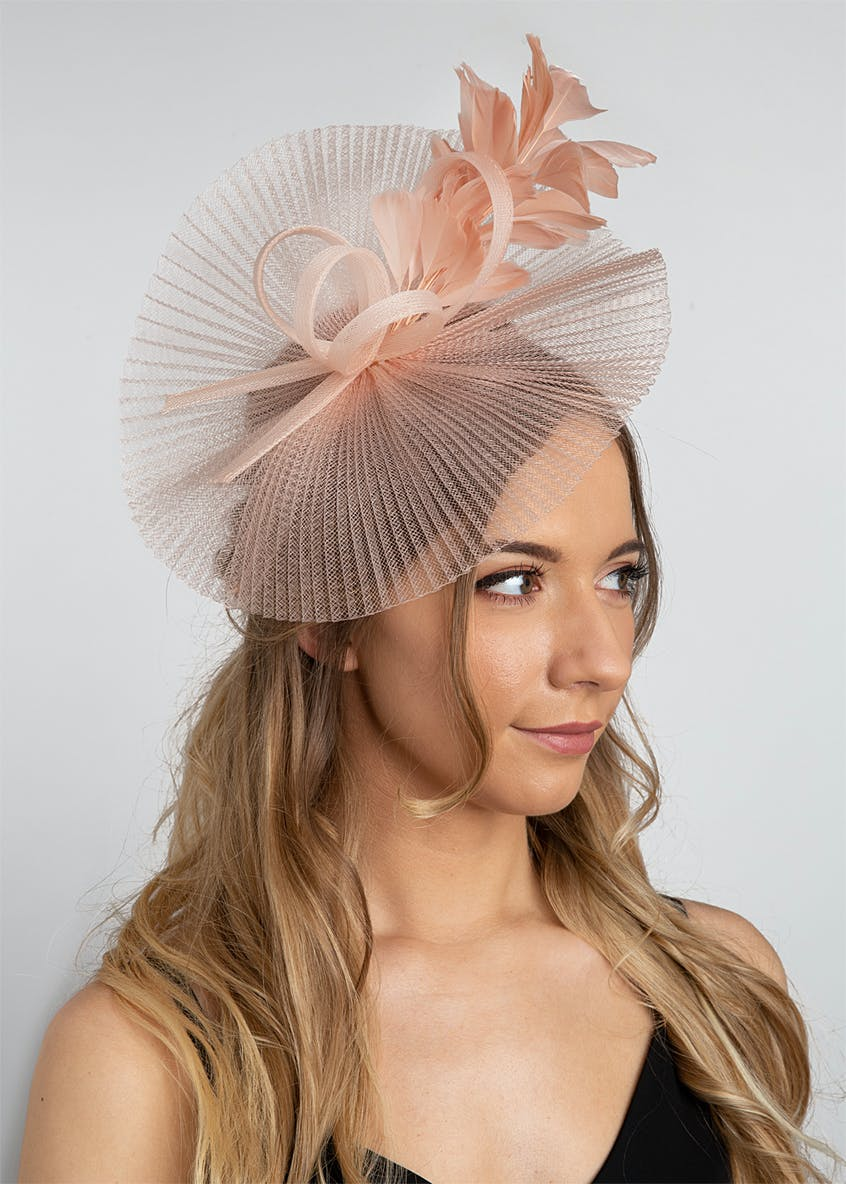 Beige Pleated Feather Fascinator