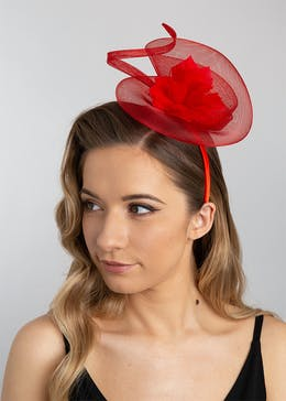 Red Sculpture Feather Fascinator