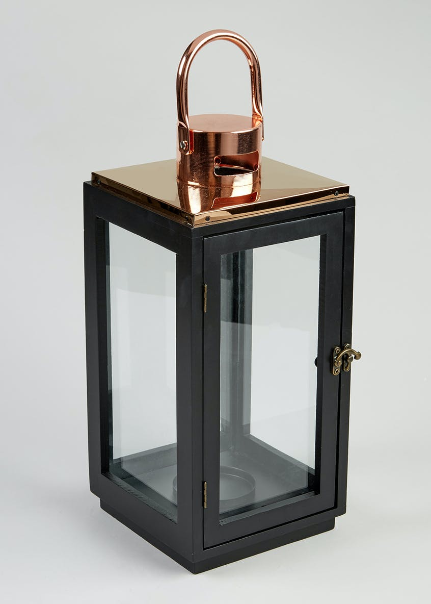 Copper Top Lantern (37cm x 18cm x 18cm)