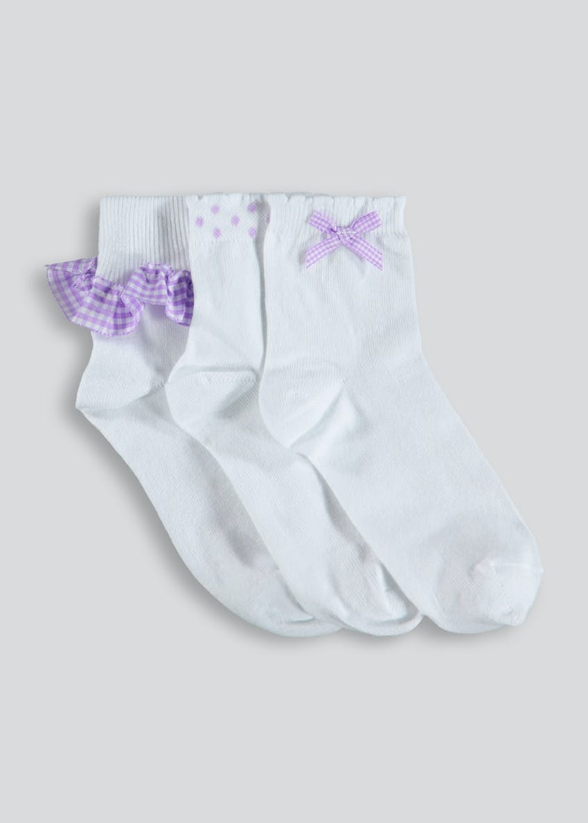 Girls 3 Pack Gingham Ankle Socks (Younger Kids 6-Older Kids 5.5)