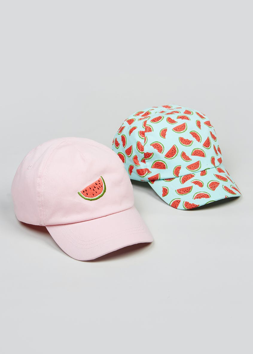 Kids 2 Pack Watermelon Caps (3-13yrs)