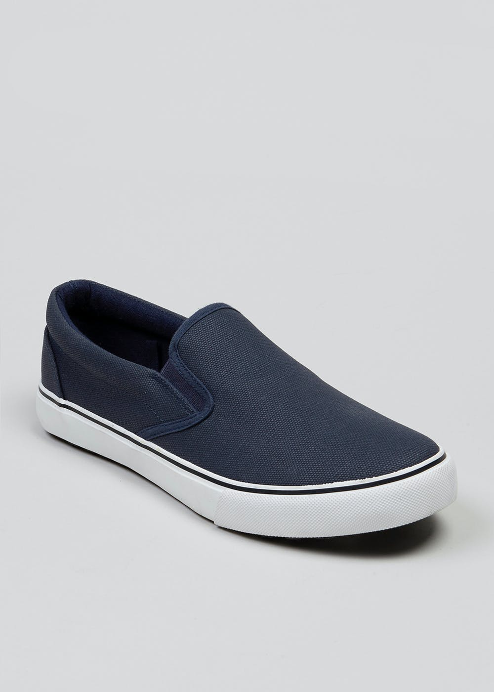 5b337fd88a2 Slip On Canvas Pumps – Navy – Matalan