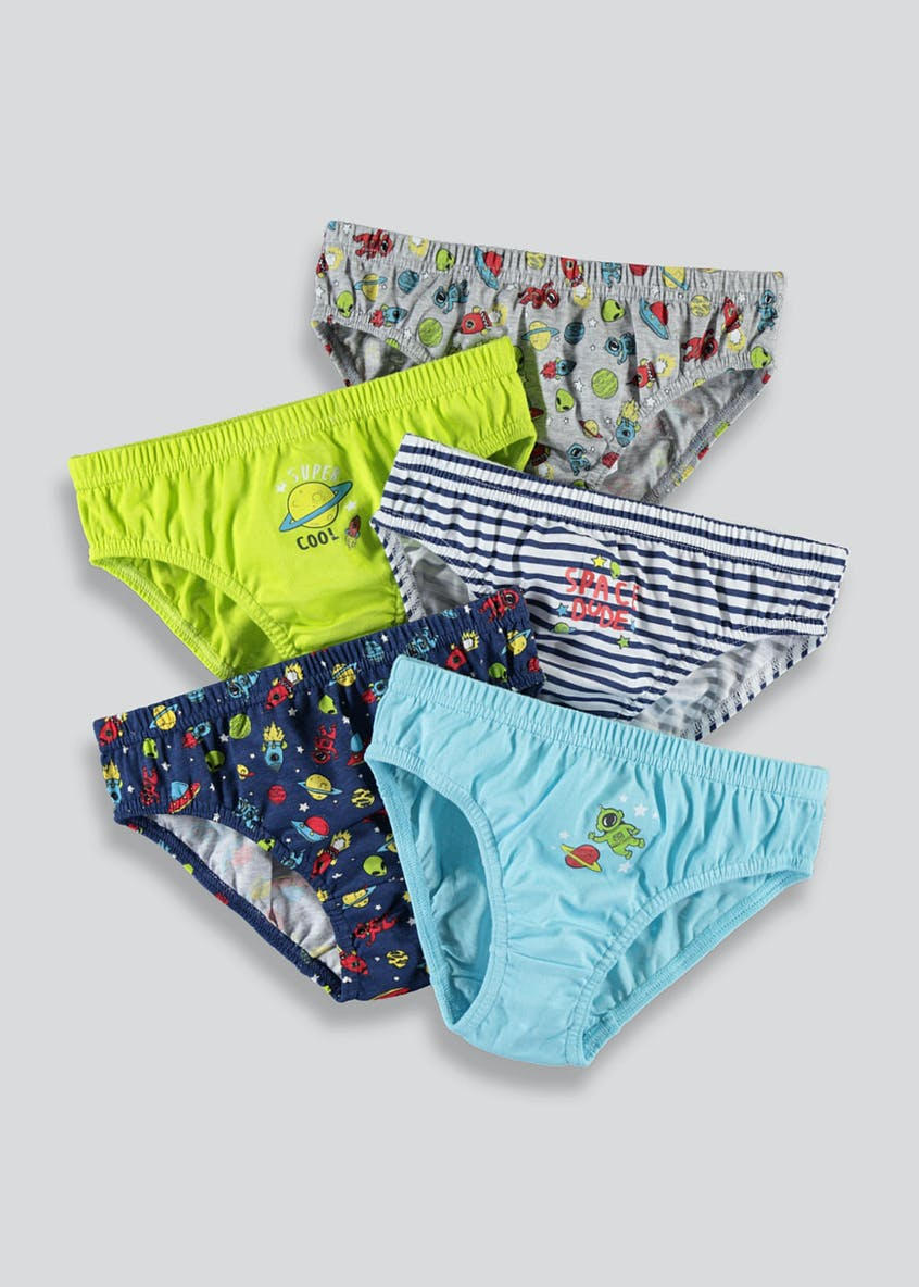 Boys 5 Pack Space Briefs (2-9yrs)