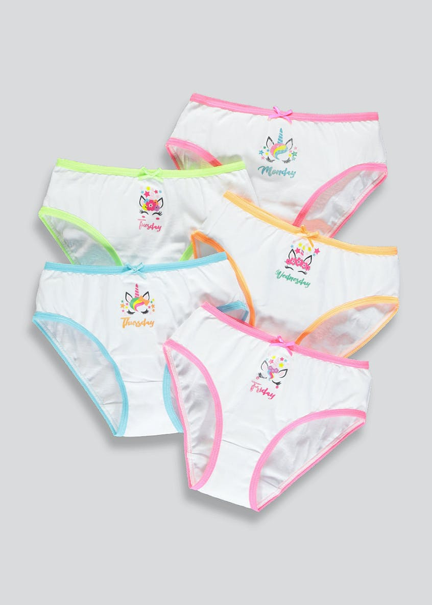 Girls 5 Pack Unicorn Knickers (18mths-13yrs)