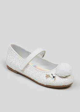 Girls Swan Sequin Ballet Shoes (Younger 4-12)