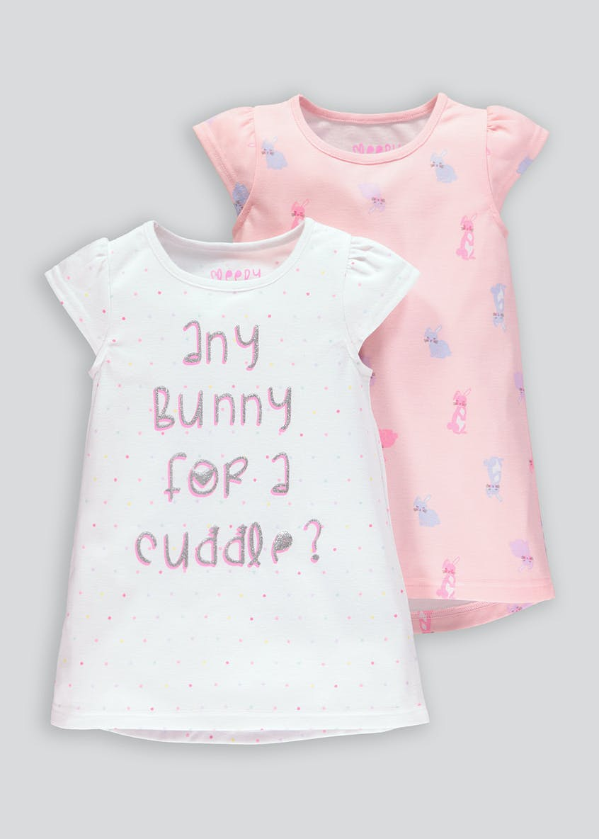 Girls 2 Pack Bunny Nighties (9mths-5yrs)