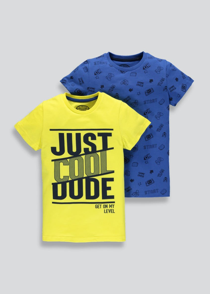 Boys 2 Pack Cool Dude T-Shirts (4-13yrs)