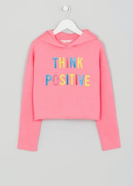 Girls Candy Couture Positive Slogan Cropped Hoodie (9-16yrs)