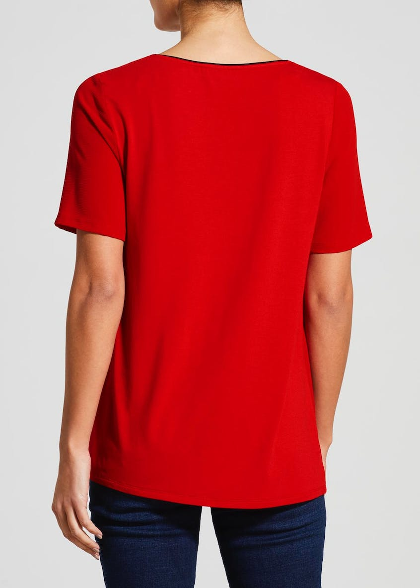 Piped Woven Front T-Shirt