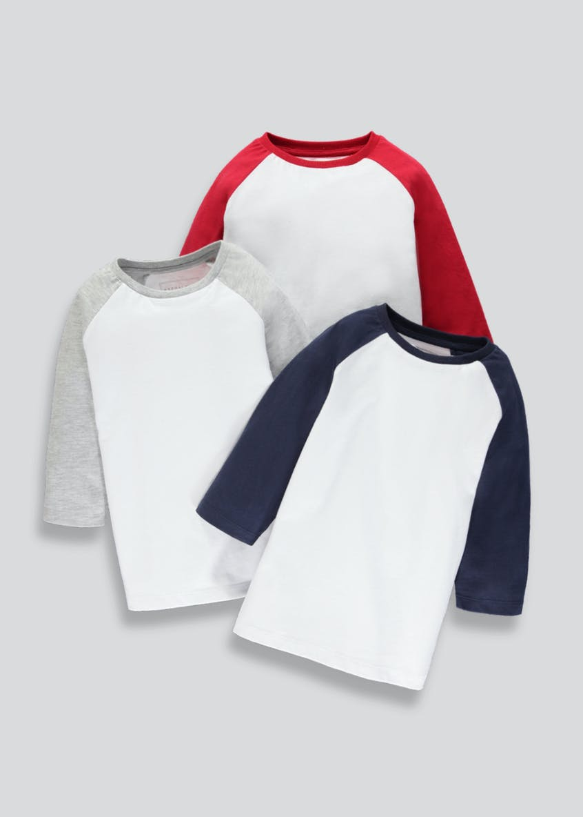 Boys 3 Pack Raglan Sleeve T-Shirts (4-13yrs)