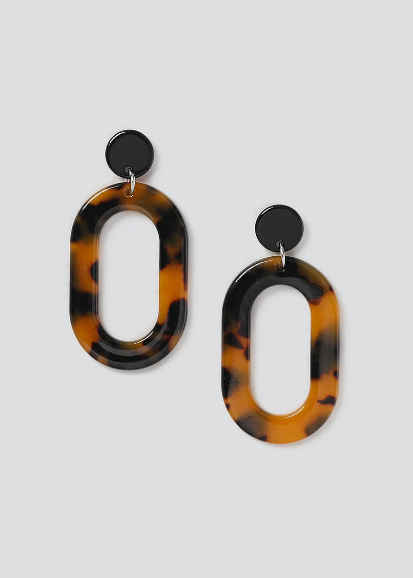 Tortoiseshell Oval Drop Earrings