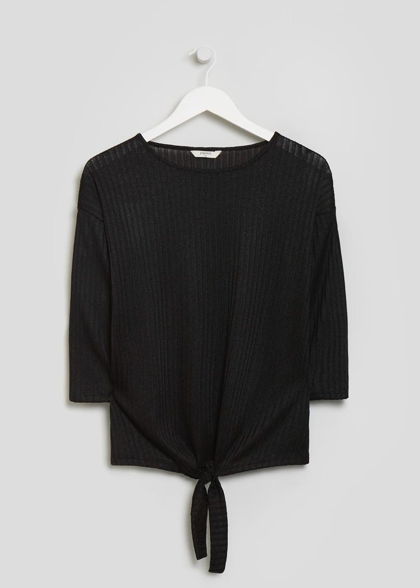 Ribbed Tie Front Top