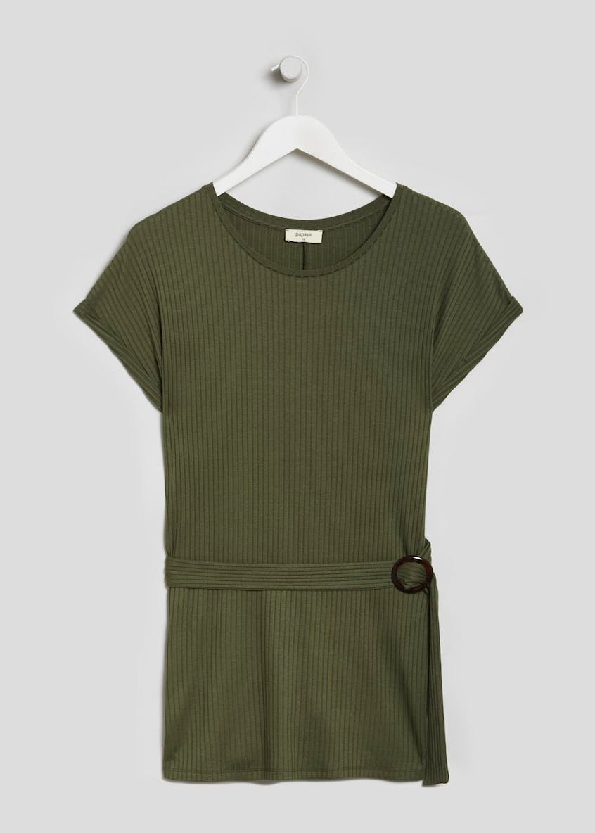 Belted Ribbed Longline Top