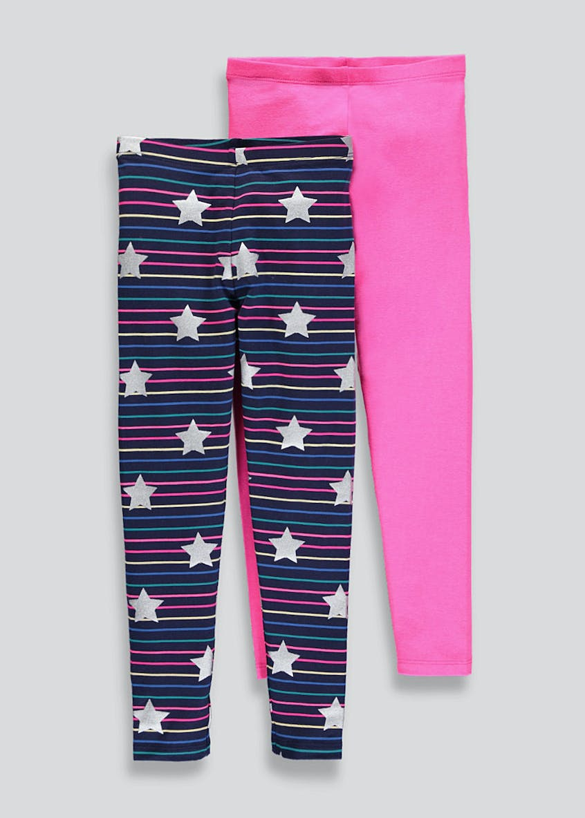 Girls 2 Pack Star Leggings (4-13yrs)