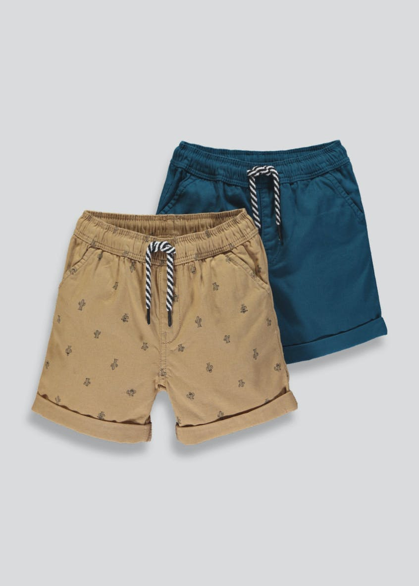 Boys 2 Pack Cactus Canvas Shorts (9mths-6yrs)