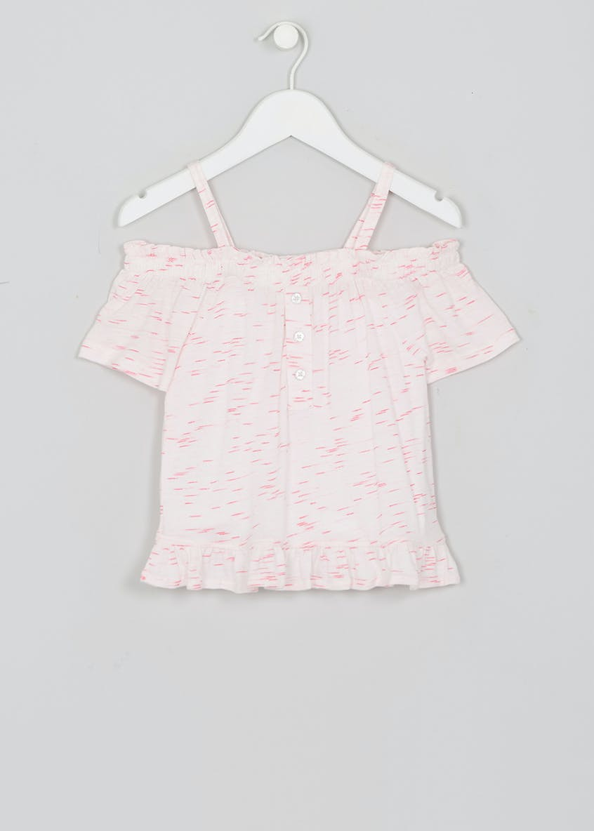 Girls Printed Button Front Bardot Top (4-13yrs)