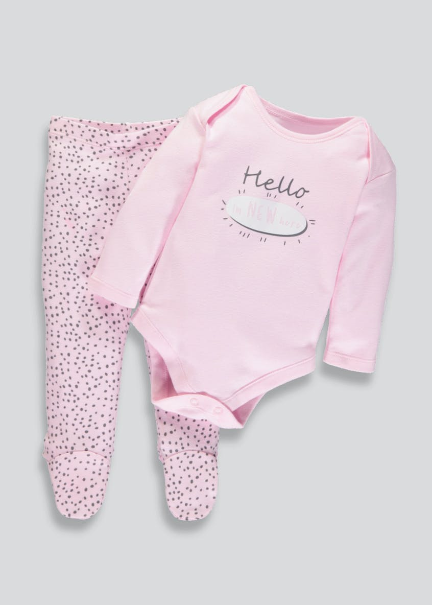 Unisex Hello Slogan Bodysuit & Leggings Set (Tiny Baby-9mths)