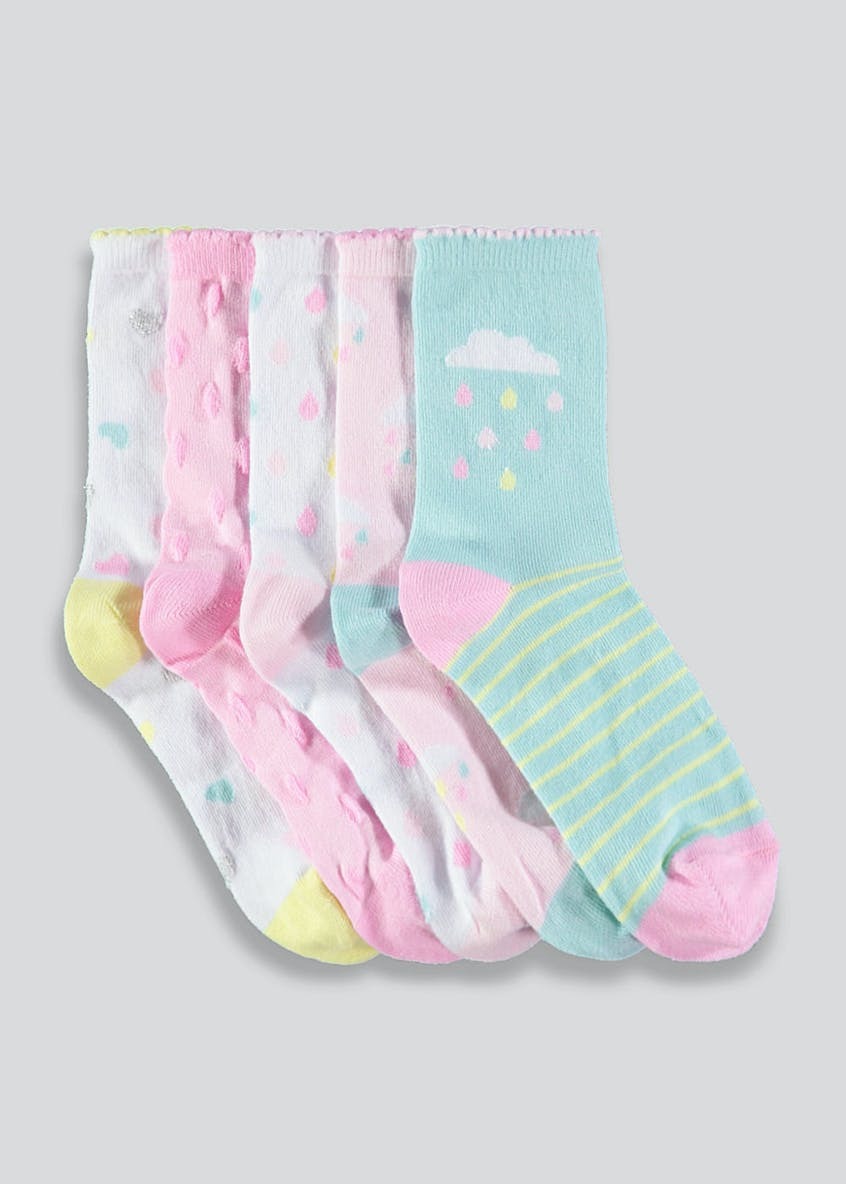 Girls 5 Pack Cloud Socks (Younger 6-Older 5.5)