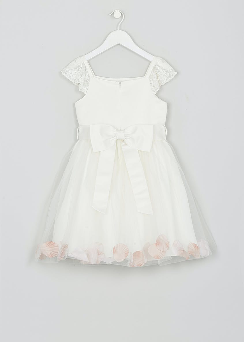 Girls Ivory Petal Short Sleeve Flower Girl Dress (12mths-13yrs)