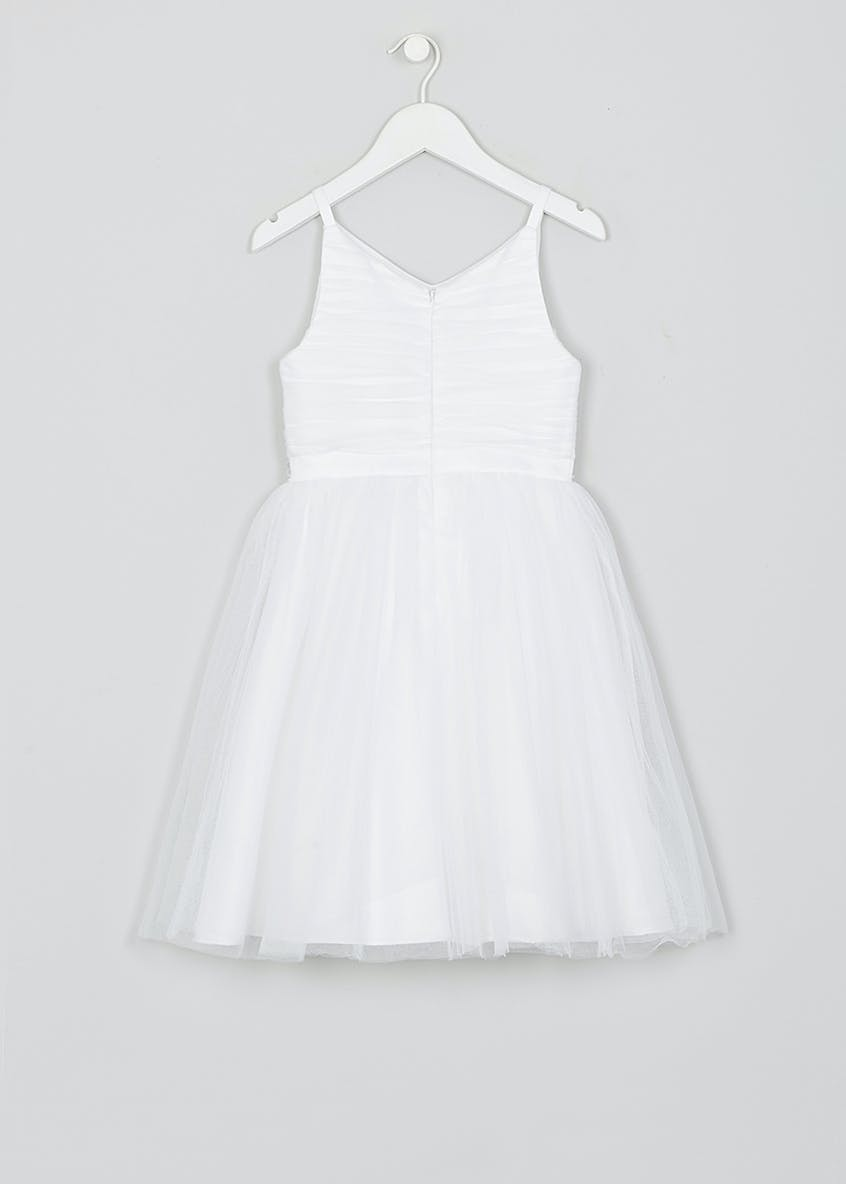 Girls White Strappy Flower Girl Dress (12mths-13yrs)