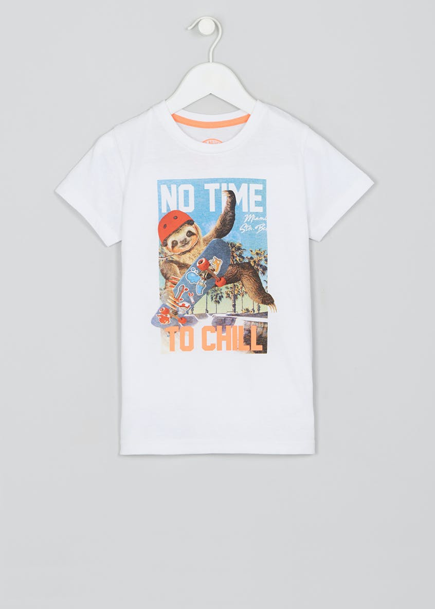Kids Skateboarding Sloth T-Shirt (4-13yrs)