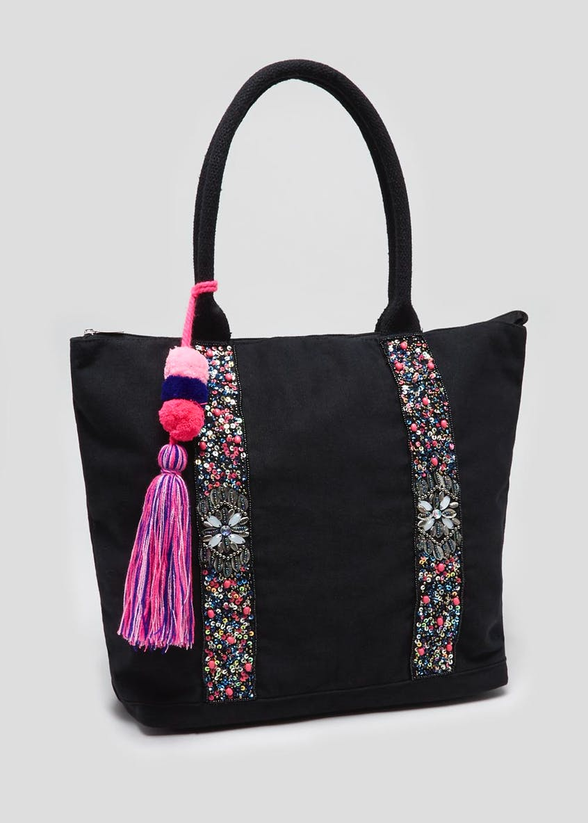 Beaded Strap Charm Tote Bag