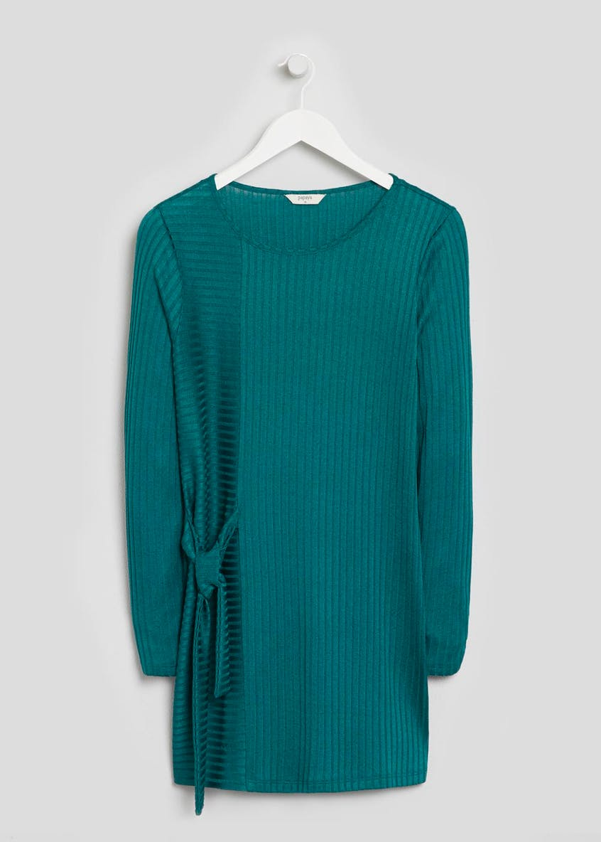 Ribbed Tie Front Tunic