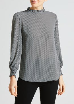 Dogtooth Shirred Blouse