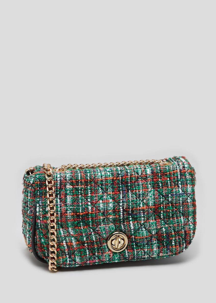 Tweed Mix Chain Handbag
