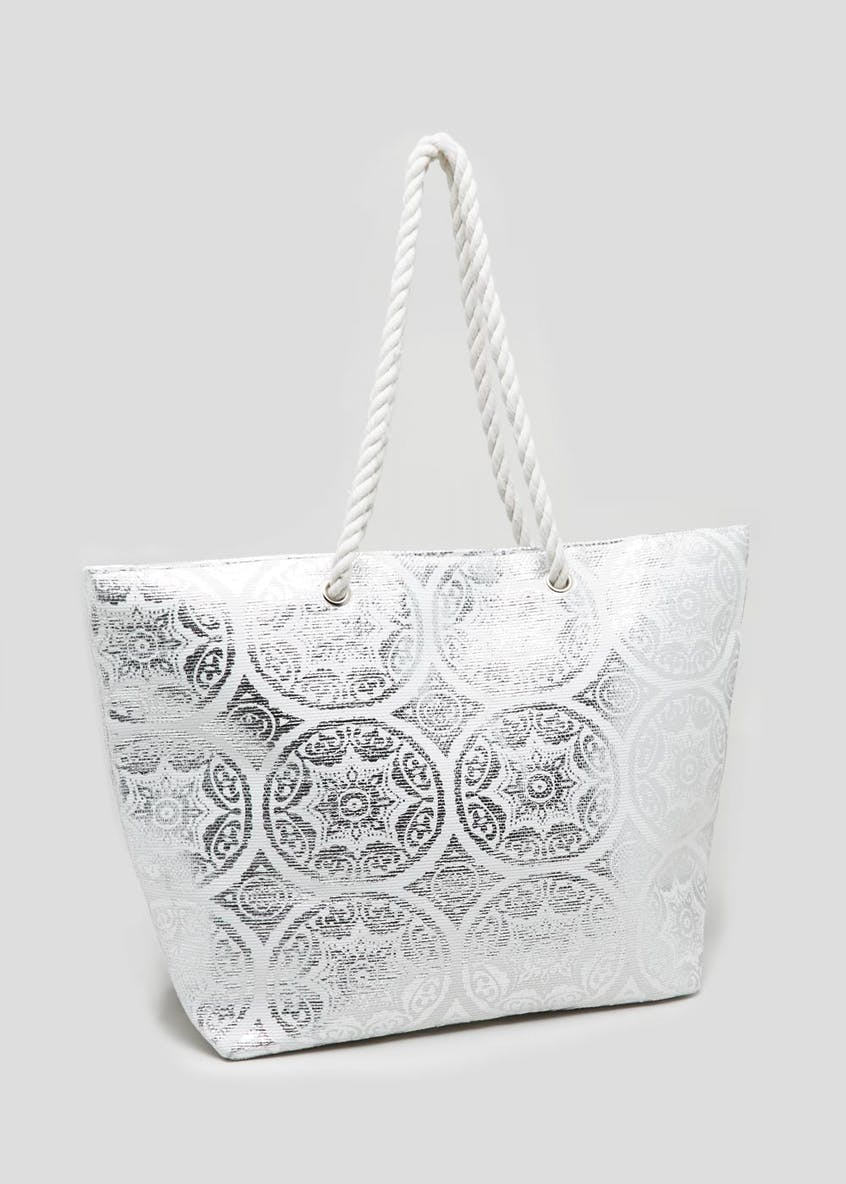 Metallic Tile Print Rope Beach Bag
