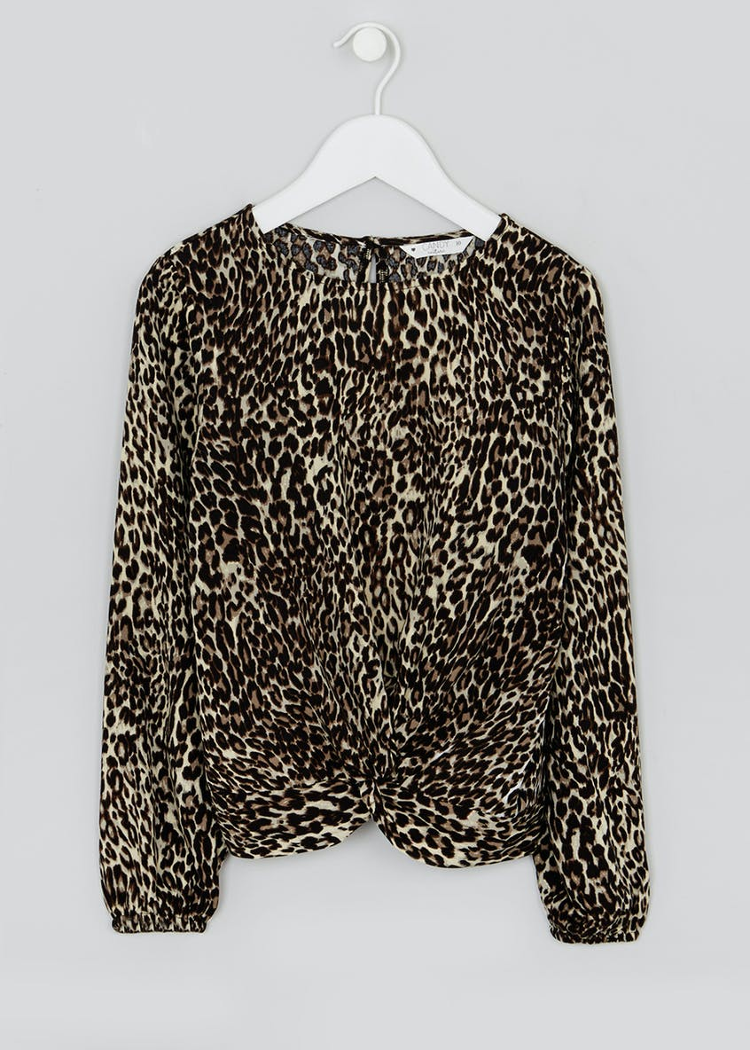 Girls Candy Couture Leopard Print Blouse (9-16yrs)