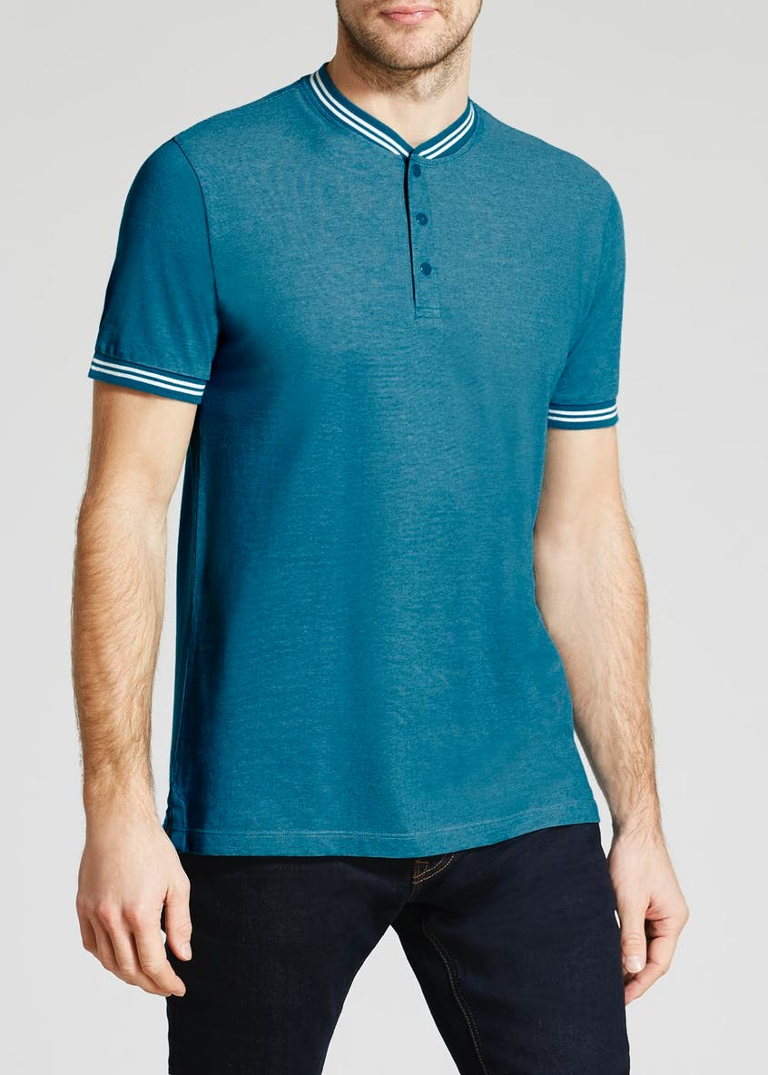 Tipped Grandad Collar Polo Shirt
