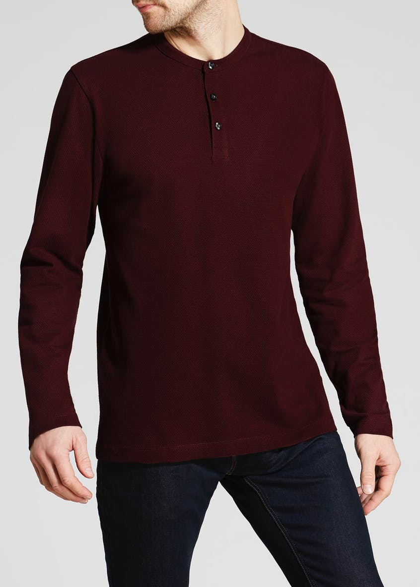Long Sleeve Grandad Collar Polo Shirt
