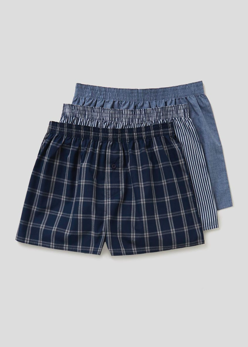 3 Pack Check Woven Boxers