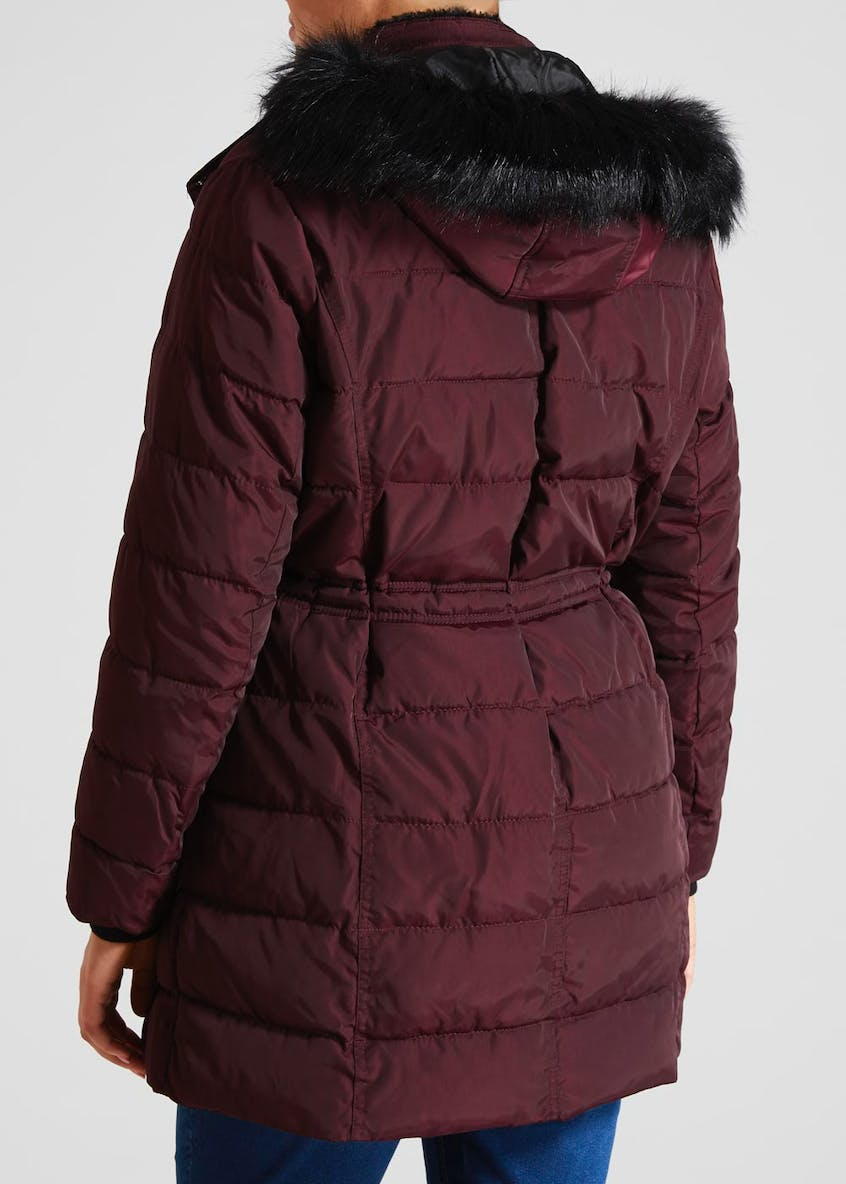 Papaya Curve Faux Fur Hood Long Padded Coat