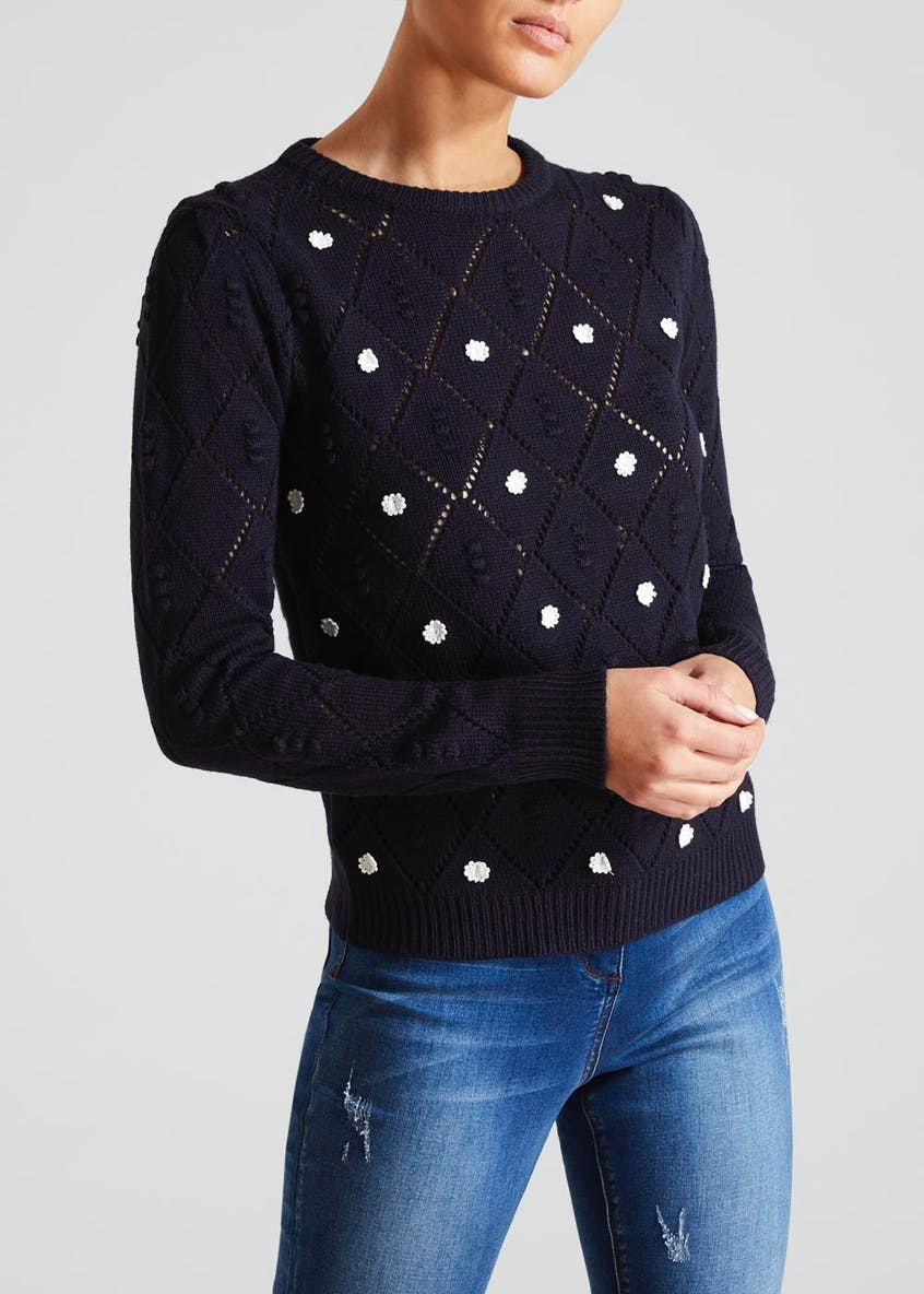 Falmer Floral Embroidered Pointelle Jumper