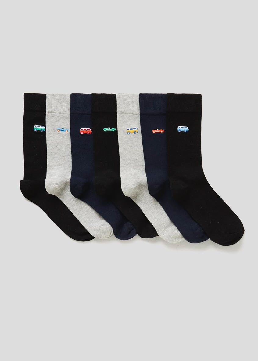 7 Pack Embroidered Socks