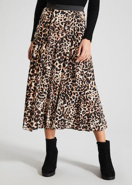 Animal Print Pleated Midi Skirt