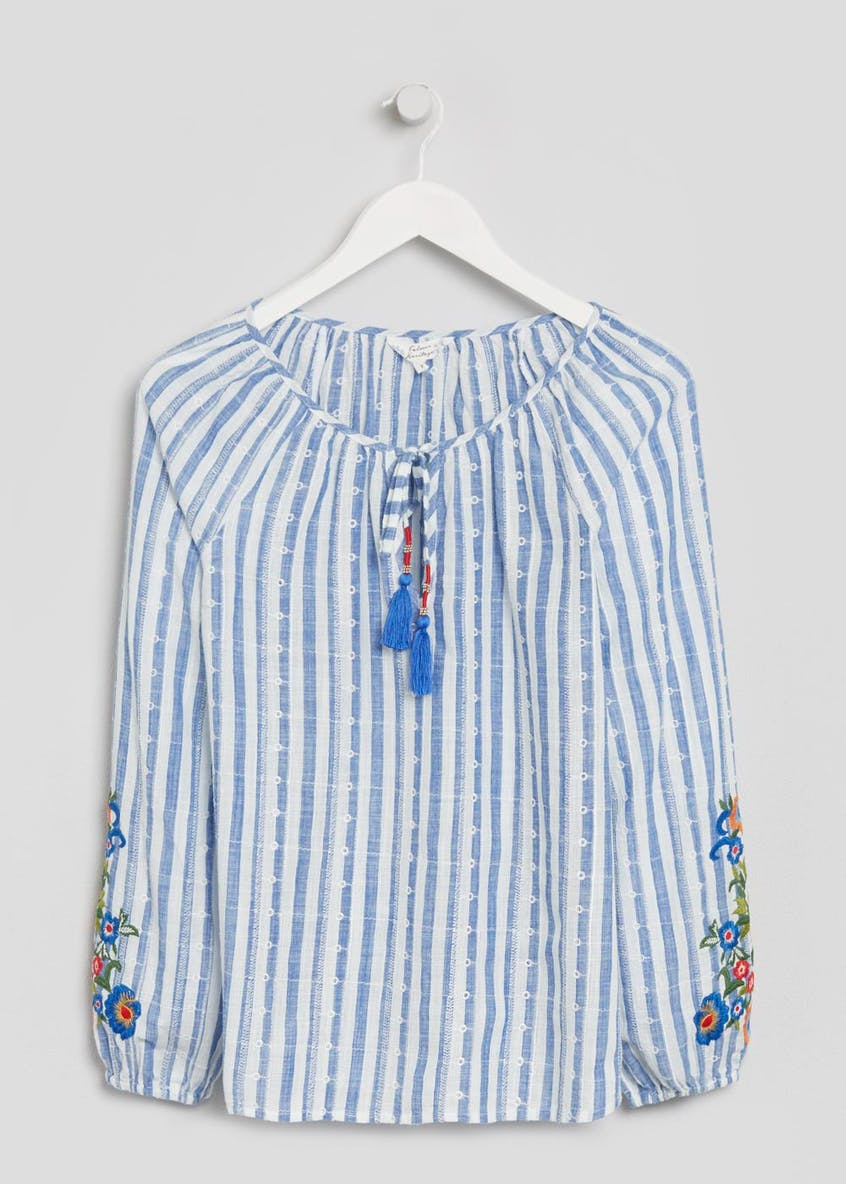Falmer Stripe Floral Embroidered Blouse