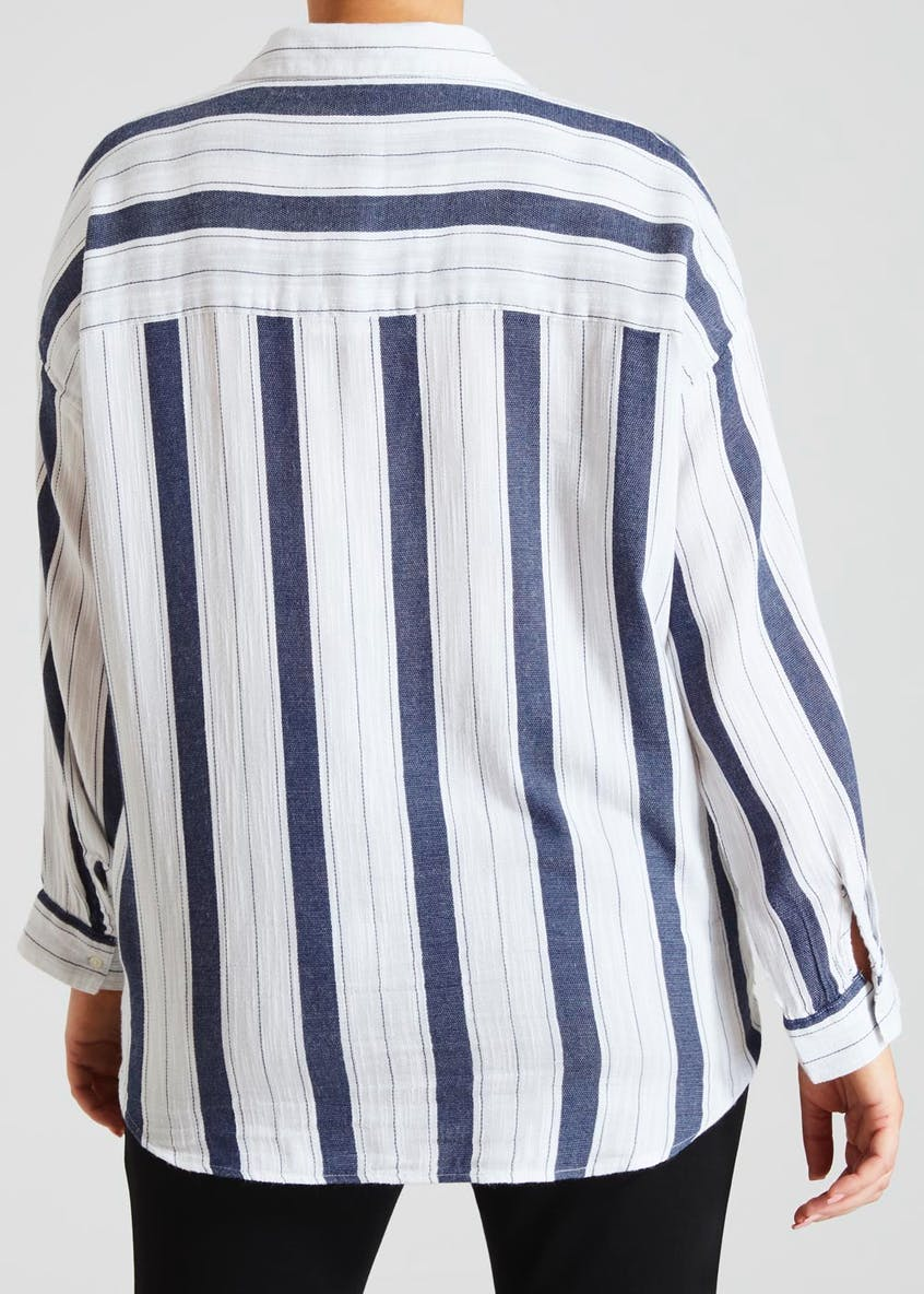 Papaya Curve Stripe Tie Front Shirt