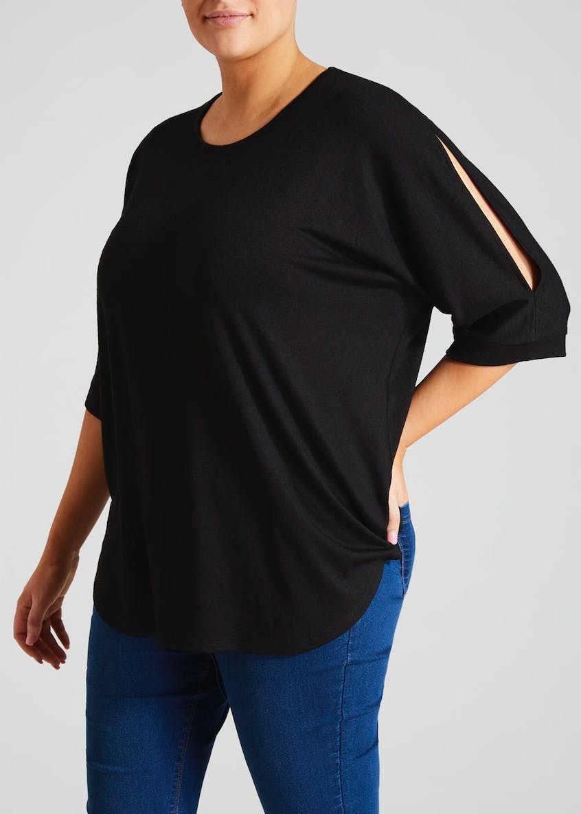 Papaya Curve Oversized Curved Hem Top