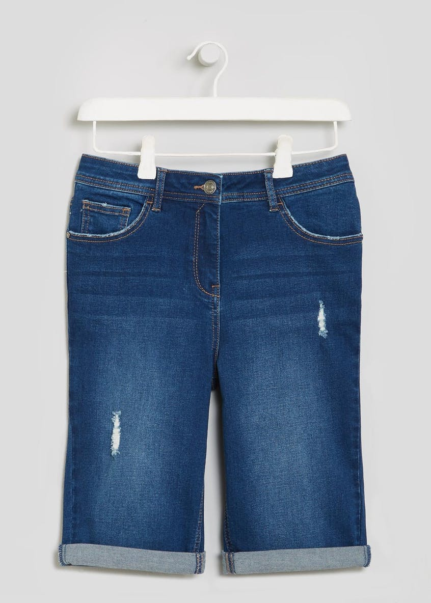Denim Knee Length Bermuda Shorts