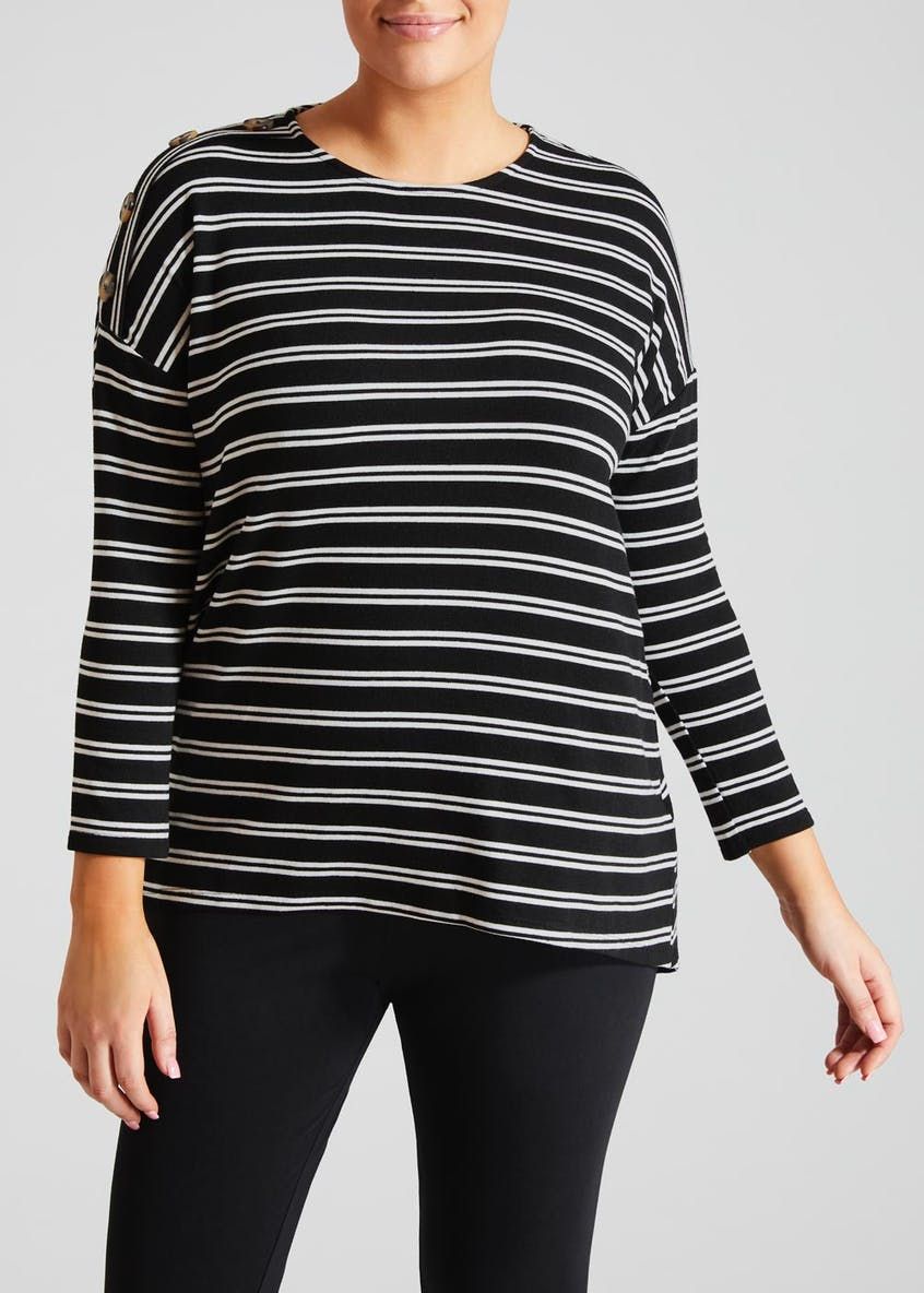 Papaya Curve Ribbed Button Long Sleeve Top