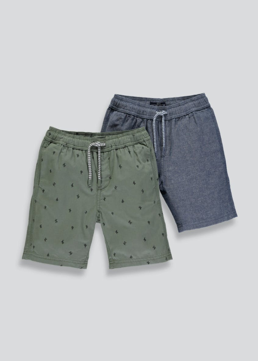 Boys 2 Pack Woven Cactus Print Shorts (4-13yrs)