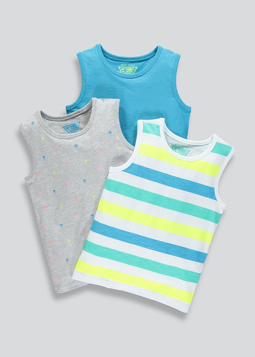Kids 3 Pack Stripe Vests (4-10yrs)