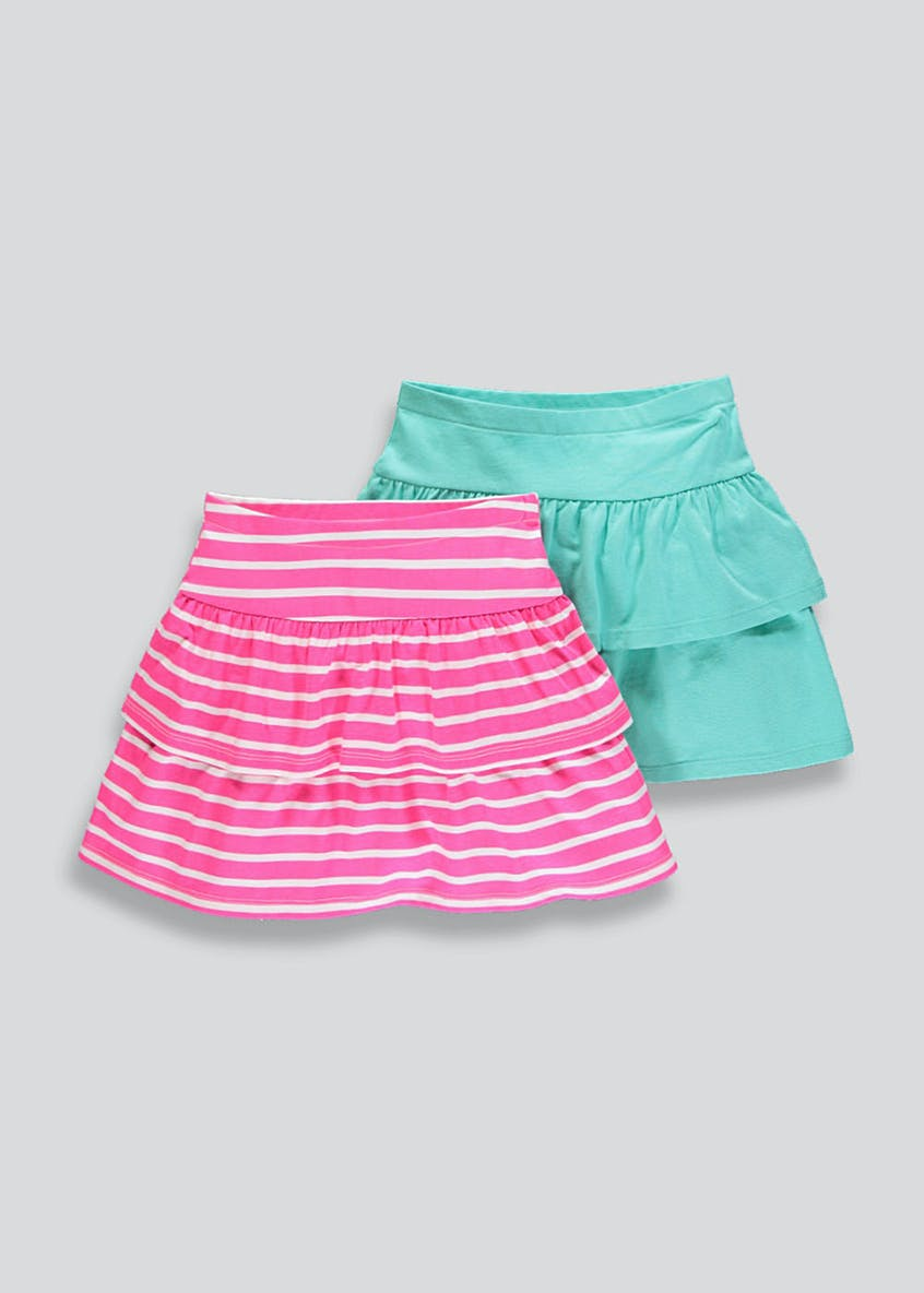 Girls 2 Pack Frill Skirts (4-13yrs)